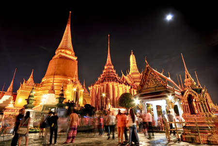 Wat pra kaew Grand palace at night bangkok,Thailand Editorial