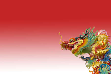 Chinese golden dragon on red background isolated photo