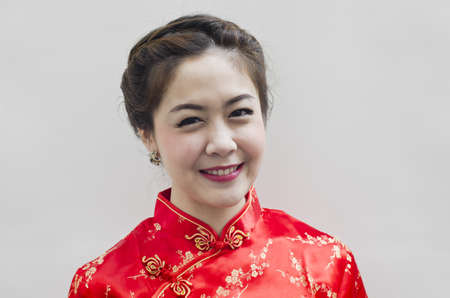 chinese young woman with tradition clothing photo