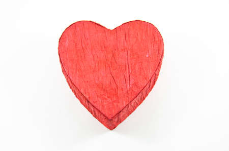 Red heart box with rose on white background,isolated photo