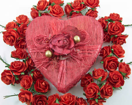 Red heart box with rose on white background,isolated