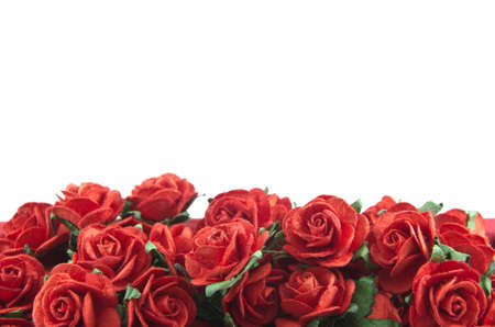 Red roses in a bunch isolated on a white background with space for text Stock Photo - 12422078