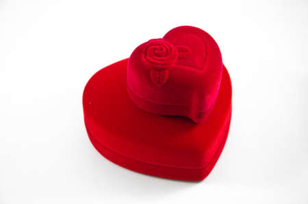 Red Velvet Silk rose Box using for Engagement for Love in Valentine with rose on white background,isolated photo