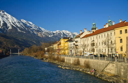 Inn river and city at Innsbruck - Austria photo