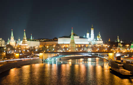 Kind to the Moscow Kremlin and Moskva River in winter night  Russia Stock Photo - 13863811