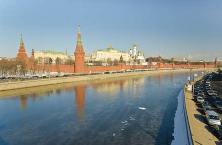 Kind to the Moscow Kremlin and Moskva River in winter day  Russia photo