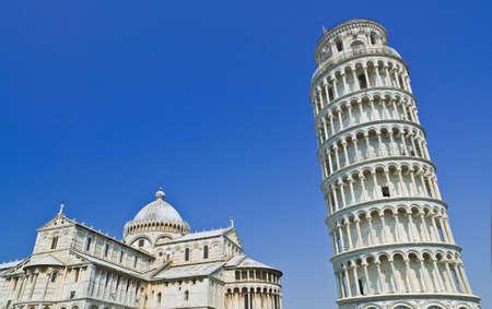 Pisa, Piazza dei miracoli, with the Basilica and the leaning tower, Italy Stock Photo