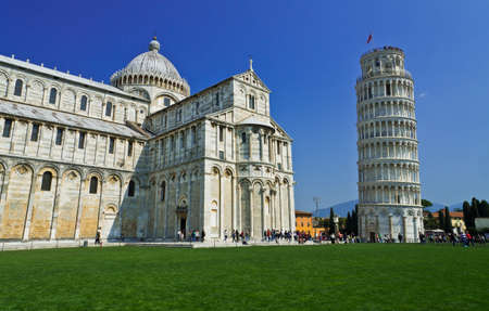 Pisa, Piazza dei miracoli, with the Basilica and the leaning tower, Italy Editorial