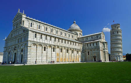 Pisa, Piazza dei miracoli, with the Basilica and the leaning tower, Italy photo