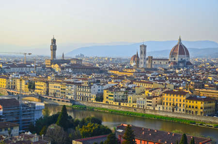 Santa Maria del Fiore and Arno River of Florence, Tuscany, Italy photo