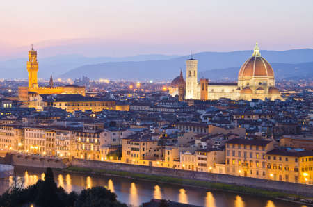Beautiful sunset over the river Arno in Florence, Italy, photo