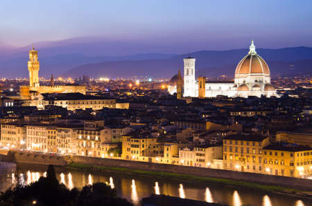 florence: Beautiful sunset over the river Arno in Florence, Italy,