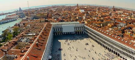 Aerial view of Venice city from the top of the bell tower at the San Marco Square, Italy