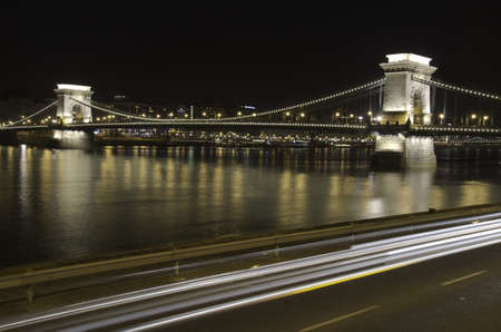 Chain Bridge at night in Budapest, Hungary photo