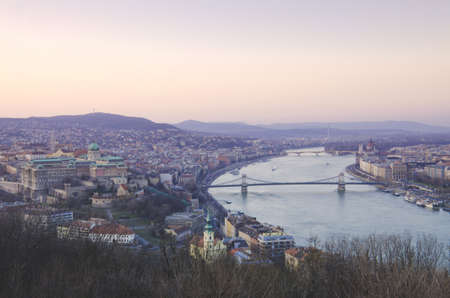In evening of Budapest, Hungary from Gellert hill. photo