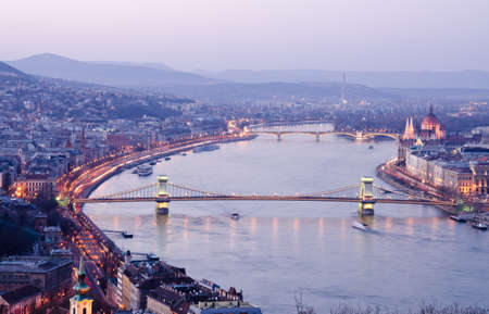 Night of Budapest, Hungary from Gellert hill. Stock Photo - 14747083