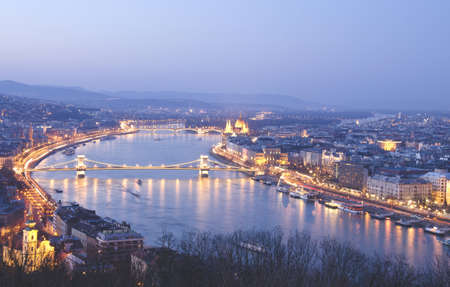 Night of Budapest, Hungary from Gellert hill. photo