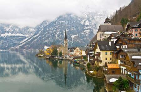 Hallstatt in the winter, Austria photo
