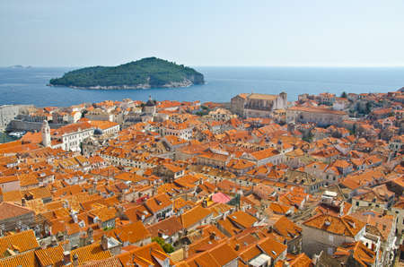 view on old center of Dubrovnik city and Church, Croatia photo