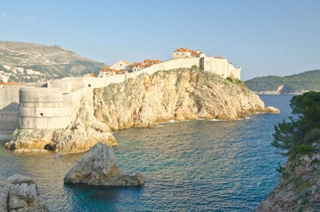 Amazing Dubrovnik Defensive Wall Built on Cliff, Croatia Stock Photo