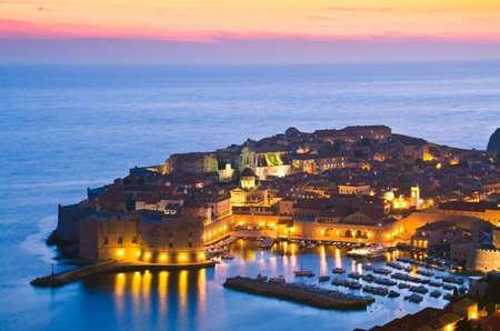 A panorama of Dubrovnik by night, Croatia photo