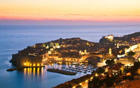 A panorama of Dubrovnik by night, Croatia Stock Photo