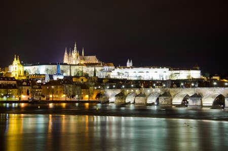 prague castle: The Charles Bridge at night Prague, Czech Republic