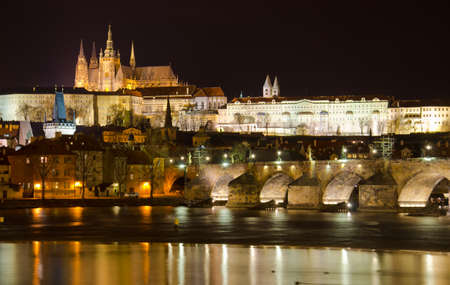 The Charles Bridge at night Prague, Czech Republic photo