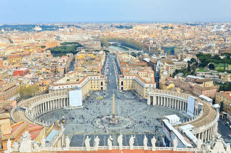 View of St. Peters Square, as seen from the top of the Vatican, in Rome.