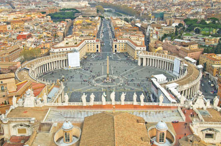 View of St. Peters Square, as seen from the top of the Vatican, in Rome. photo