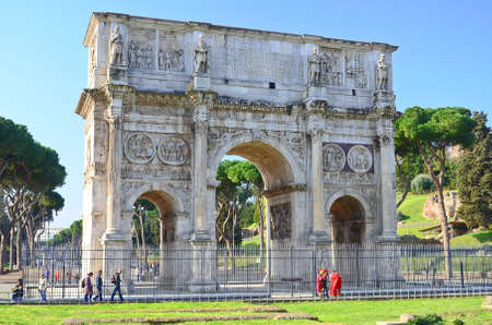 palatine: The arch of Constantine at the end of the palatine hill  Rome, Italy  Editorial