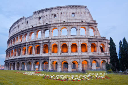 closeup of Colosseum at Dusk, Rome Italy photo
