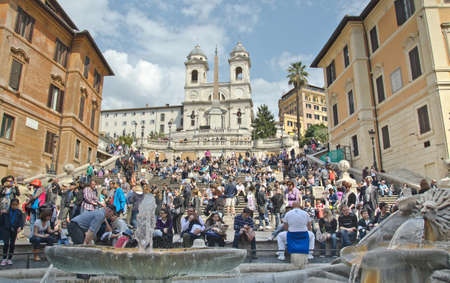 ROME - March 28: The Spanish Steps, seen from Piazza di Spagna on March 28 2012, Rome.The Spanish Steps are the widest staircase in Europe.