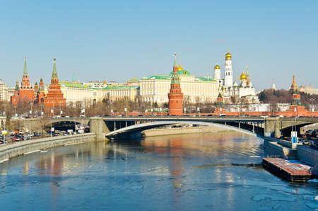 Kind to the Moscow Kremlin and Moskva River in winter day. Russia photo