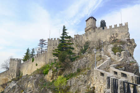 Castle of San Marino on the hill Editorial