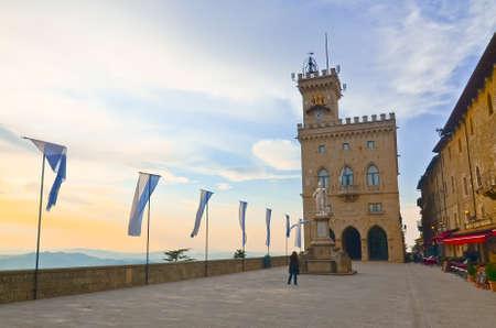 Central square of San Marino, Italy
