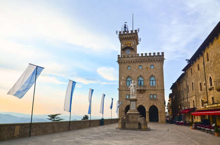 Central square of San Marino, Italy