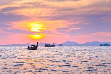 aonang: Sunset with sea and islands at Aonang, Krabi, Thailand