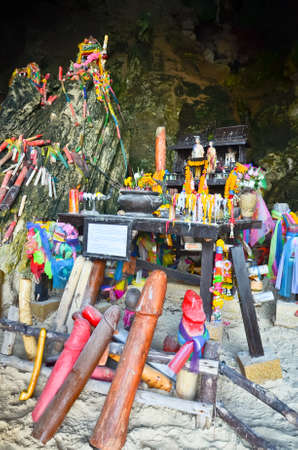 Shrine with Phalluses in the Princess Cave at South Railay beach in Krabi, Thailand.