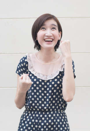 Happy laughing woman portrait photo