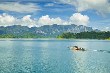 thani: Travel by small boats, Ratchapapha dam area in Surat Thani province, Thailand.