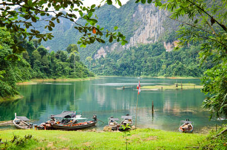 Beautiful mountains and natural attractions in Ratchaprapha Dam at Khao Sok National Park, Surat Thani Province, Thailand. Stock Photo - 21890984