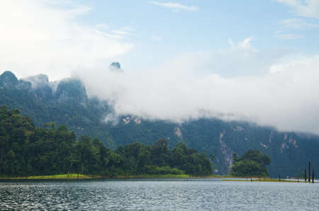 Beautiful mountains and natural attractions in Ratchaprapha Dam at Khao Sok National Park, Surat Thani Province, Thailand. photo