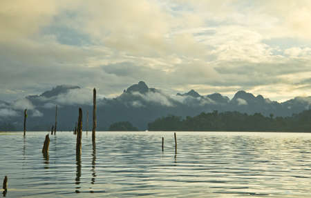 Beautiful mountains and natural attractions in Ratchaprapha Dam at Khao Sok National Park, Surat Thani Province, Thailand.