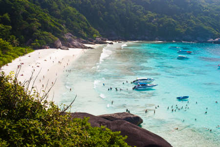 Top view of Similan island Thailand, Turquoise water of Andaman Sea.