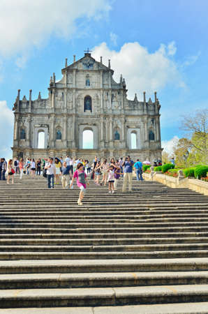 MACAU-MAY 9 : Tourists visit the Historic Centre of ruined church of St Paul on May 9, 2013 in Macau, China. The ruined church of St Paul was inscribed on the UNESCO World Heritage List in 2005.