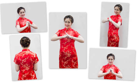 set of Asian Chinese woman in Traditional Chinese Cheongsam gest photo