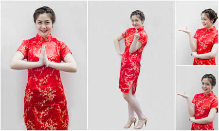 set of chinese young woman with tradition clothing holding joss photo