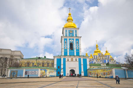 reconstructed: Saint Michaels Golden-Domed Cathedral - famous church complex in Kyiv, Ukraine, Europe. Original cathedral was demolished by Soviet authorities and was reconstructed in 1999 in an independent Ukraine Editorial