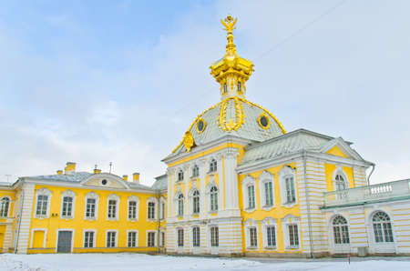 cocaine: Big Palace in Peterhof, winter view, cold dome with double head eagle, St. Petersburg, Russia